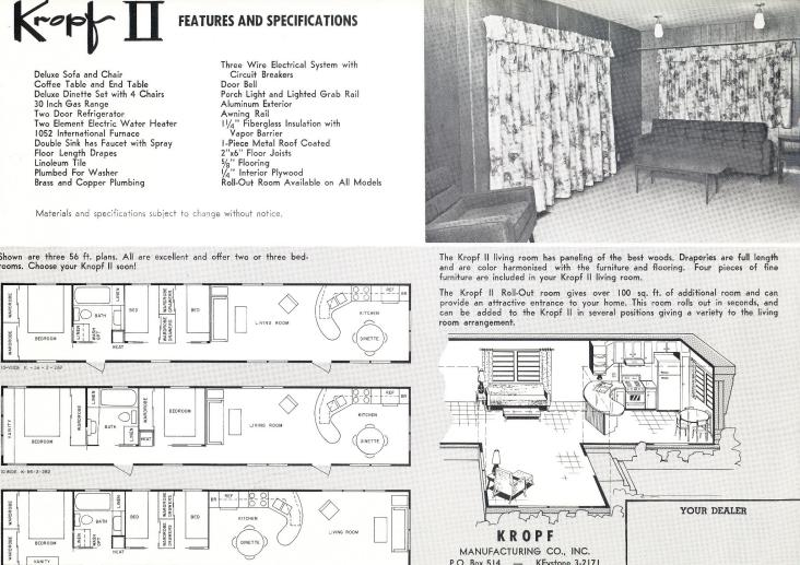 Kropf Floorplans   Vintage Mobile Home And Manufactured Home Floor Plan Part 41