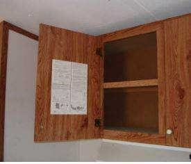 Location of Manufactured Home Data Plates - Upper kitchen cabinet