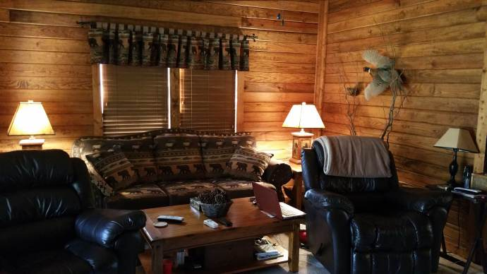 Manufactured home gets rustic cabin makeover - living room after