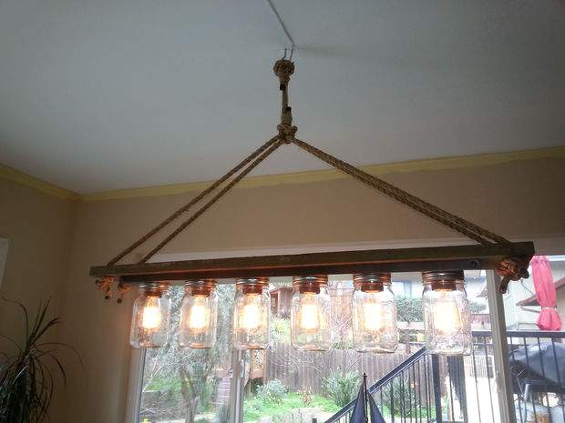 Mason Jar 6 light Edison hanging lamp - DIY 28 great lights you can make