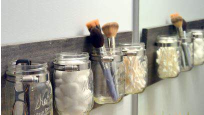 Mason jar bathroom storage tutorial