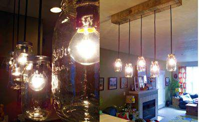 Mason jar pallet hanging light project