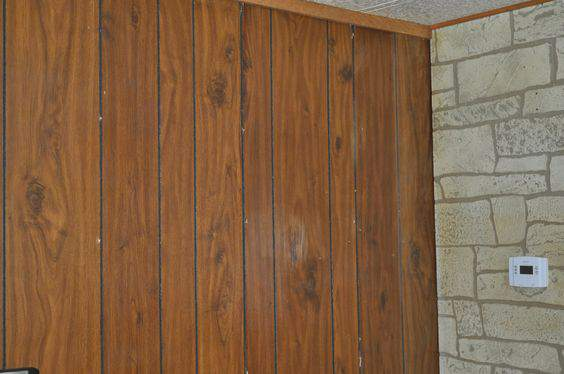 Wood paneling makeover aged plaster treatment mobile Mobile home interior walls