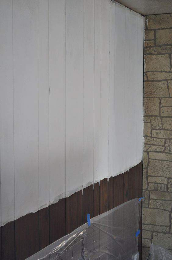 Mobile Home wood paneling during painting makeover