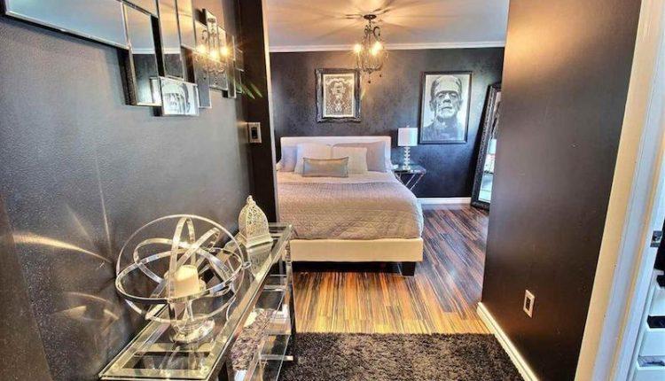 Monster inspired mobile home - hollywood glam master bedroom