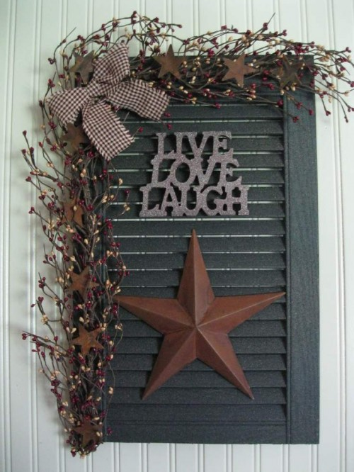 Decorating Ideas: Use An Old Shutter For Your Wall Decor.