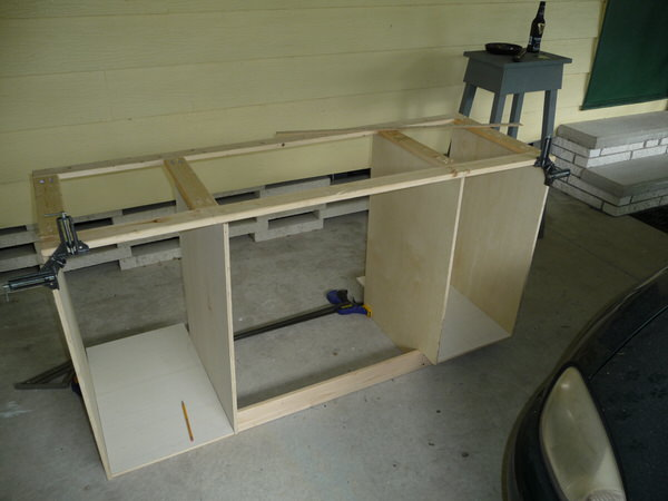 mobile home bathroom before and after-building the cabinets