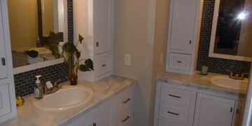 mobile home bathroom before and after-finished look