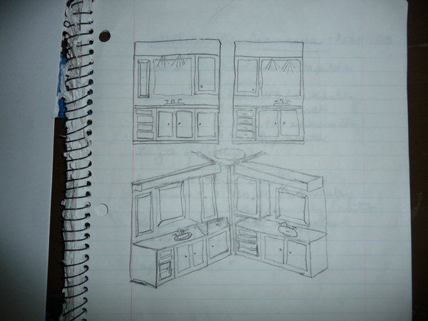 mobile home bathroom before and after-drawing
