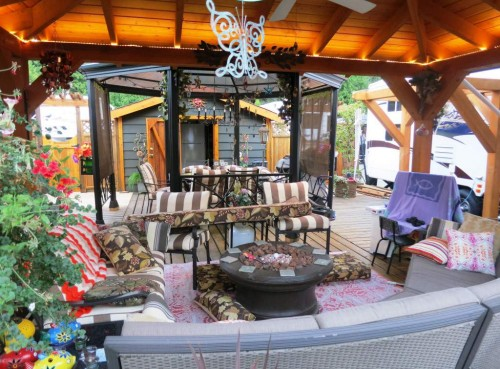 Permanent RV deck Design- pergolas - middle court yard style