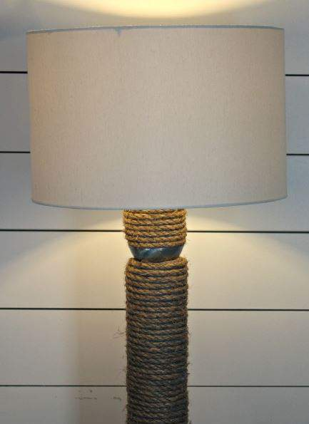 Pool Noodle and Rope Floor Lamp Makeover - DIY lighting projects