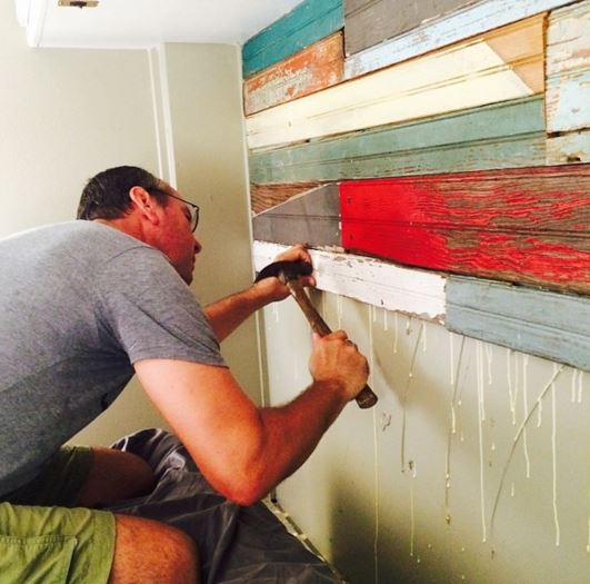 RV Remodel - Reclaimed wood wall decor in process