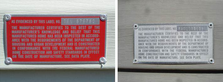 Red Manufactured Home HUD Tags and labels and a HUD Labol that has lost its red paint and is all silver