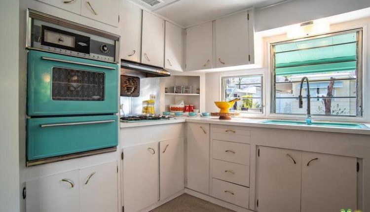 1962 Skyline is a Vintage Mobile Home Beauty - Teal Oven in White Kitchen