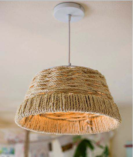 Popular Rope wrapped light shade project