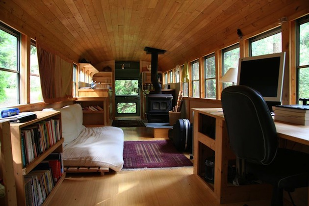 vintage buses-School-Bus-Converted Into Mobile-Home - Interior View 2