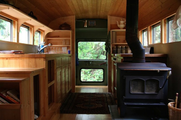 School-Bus-Converted Into Mobile-Home - Stove - 9 Awesome Vintage Buses Converted Into Beautiful Mobile Homes