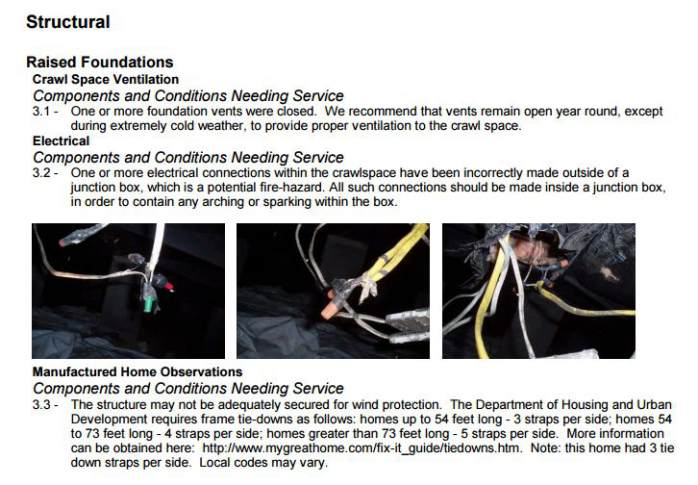 Section of a manufactured home inspection report
