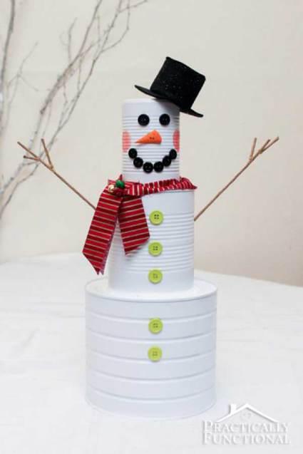 Soup Can Snowman - Affordable DIY Christmas Decor Ideas