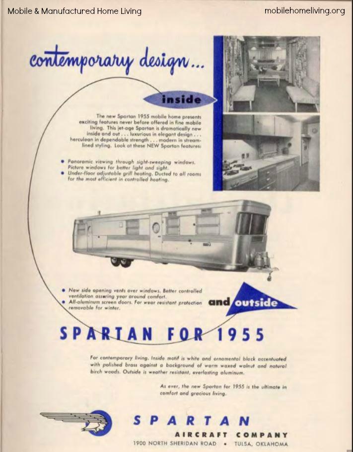 vintage mobile homes-Spartan ad 1955