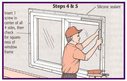 Step Four of Replacing mobile home windows - Installing the new window with screws and sealing