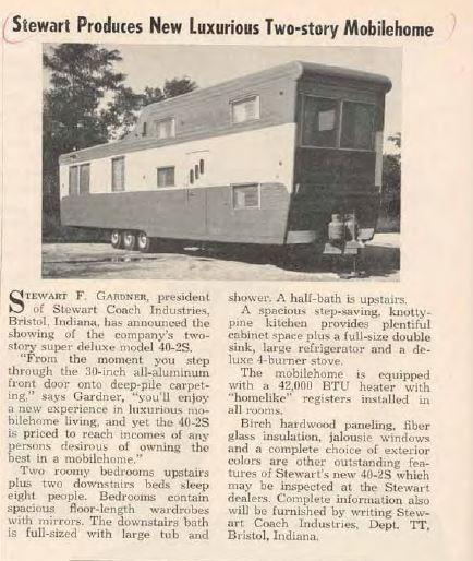 Stewart Produces new 2 level mobile home - oct issues of trailer topics 1954