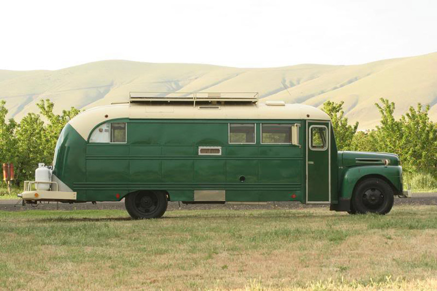 vintage buses-The Emerald Gypsy - Vintage Bus Conversions (Side View)