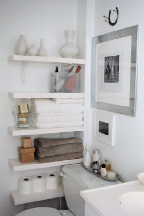 Open shelving used in a bathroom - Favorite Remodeling and Decorating Ideas for Manufactured Homes