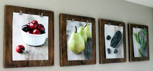 Use boards and clips to hang wall art