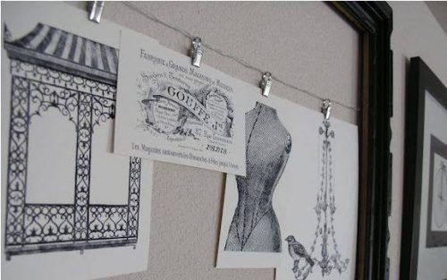 Use wire and clips to hang diy wall art