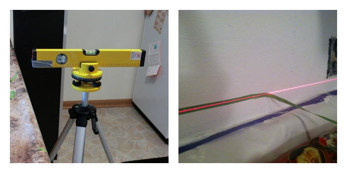 Using a laser level for straight lines