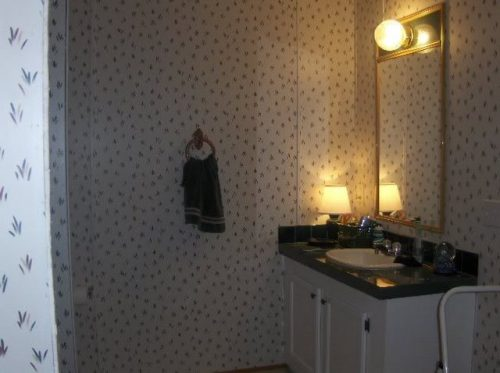 vinyl walls in mobile homes-VOG panels in a mobile home - flowered pattern before paint