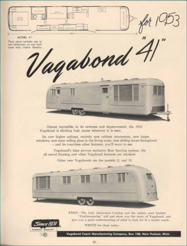 1953 mobile homes - Vagabond 1953 mobile home ad