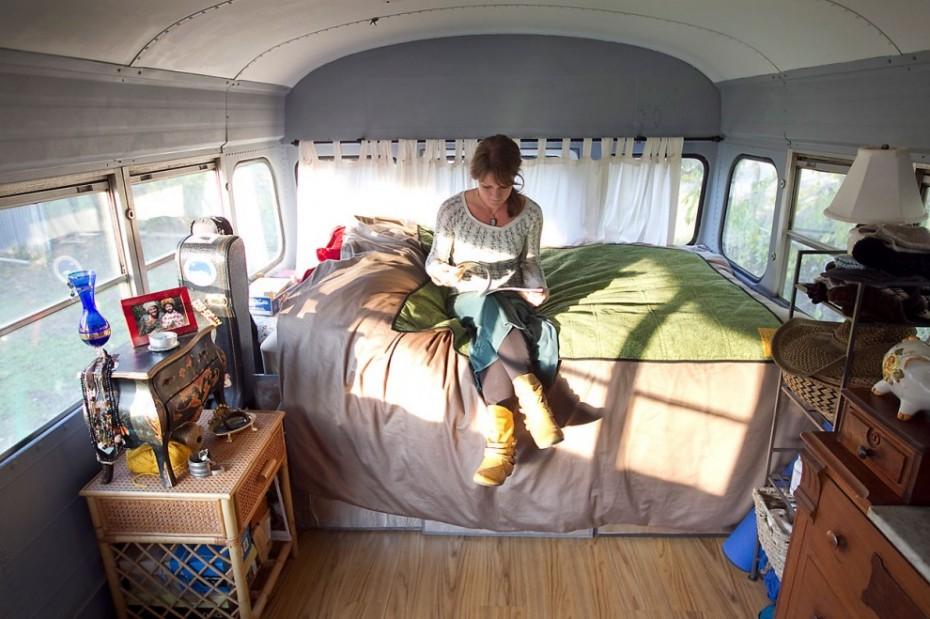 vintage buses-Vintage Bus Conversion Sleeping Area
