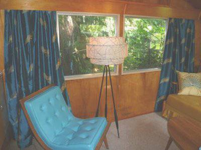 Vintage mobile homes and campers - restored 1953 silver star mobile home for sale - retro living room decor