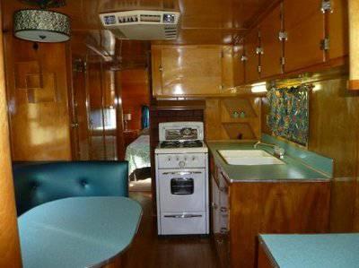 Vintage Mobile Homes and Campers - restored 1953 Silver Star Mobile Home - Kitchenette