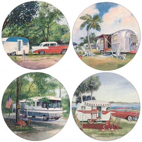 Vintage camper scene coasters - gift guide for mobile home fans