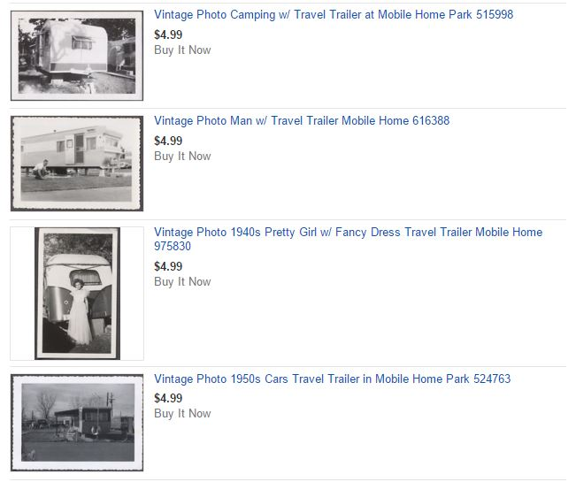 Vintage mobile home photos on Ebay - gift ideas