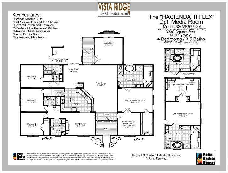 Vista Ridge manufactured home floor plan by palm harbor pg 1