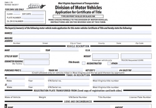 buying a mobile home in west virginia-WV DMV application for title