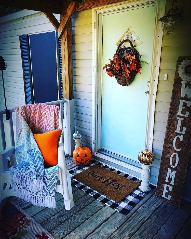 Welcoming mobile home front door