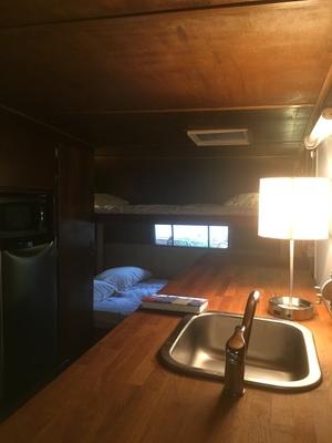 affordable DIY vintage camper renovation-kitchen bunks