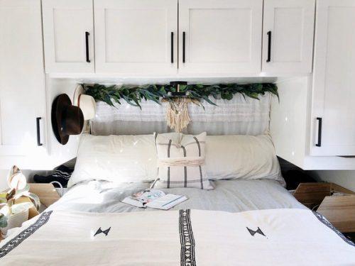 affordable RV renovation-bedroom after