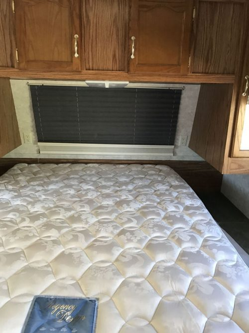 affordable RV renovation-bedroom before