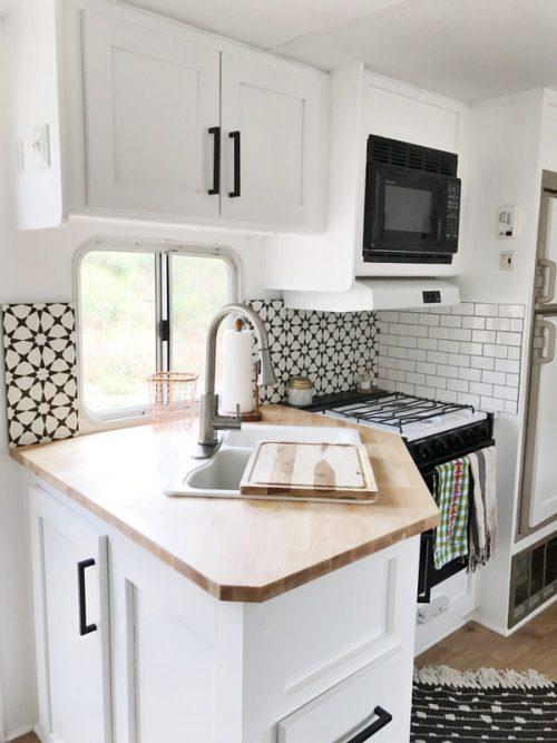 affordable RV renovation-kitchen after