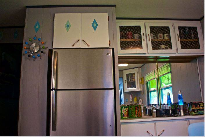 affordable mobile home remodel - 1968 Landola single wide goes Retro (retro kitchen decor)