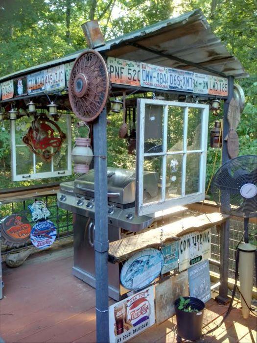 Double Wide get a DIY Rustic Cabin Makeover - unique outdoor BBQ area