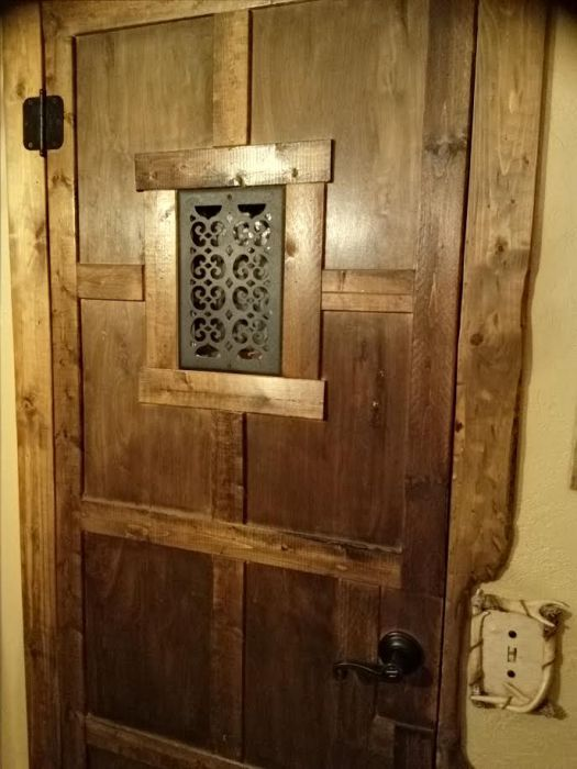 Double Wide get a DIY Rustic Cabin Makeover - door after makeover