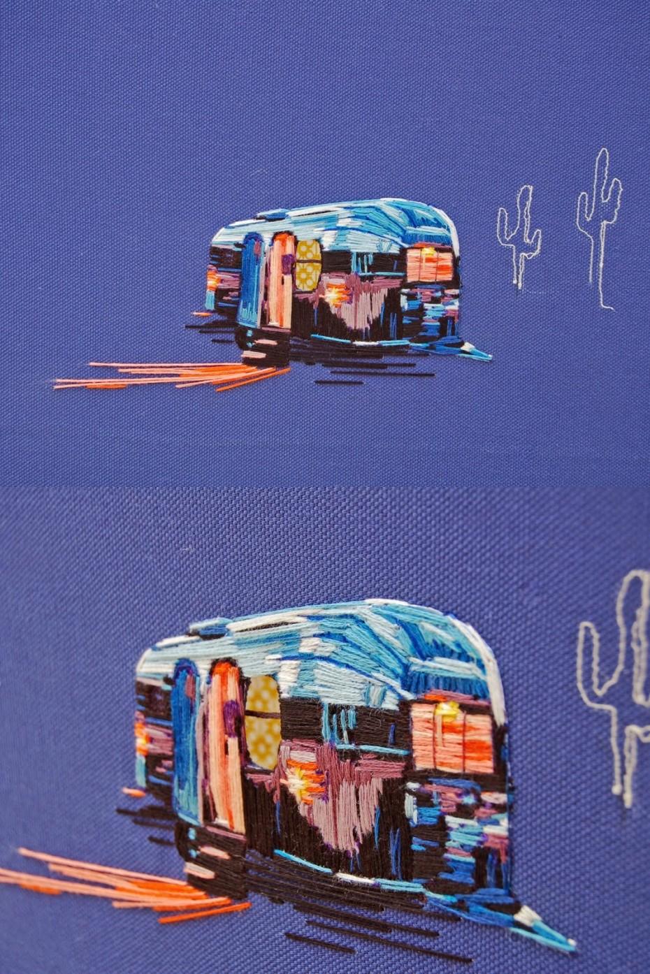 airstream camper embriodered art