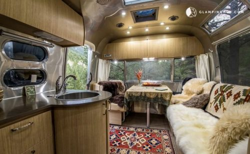 airstream glamping-rocky mountains living area